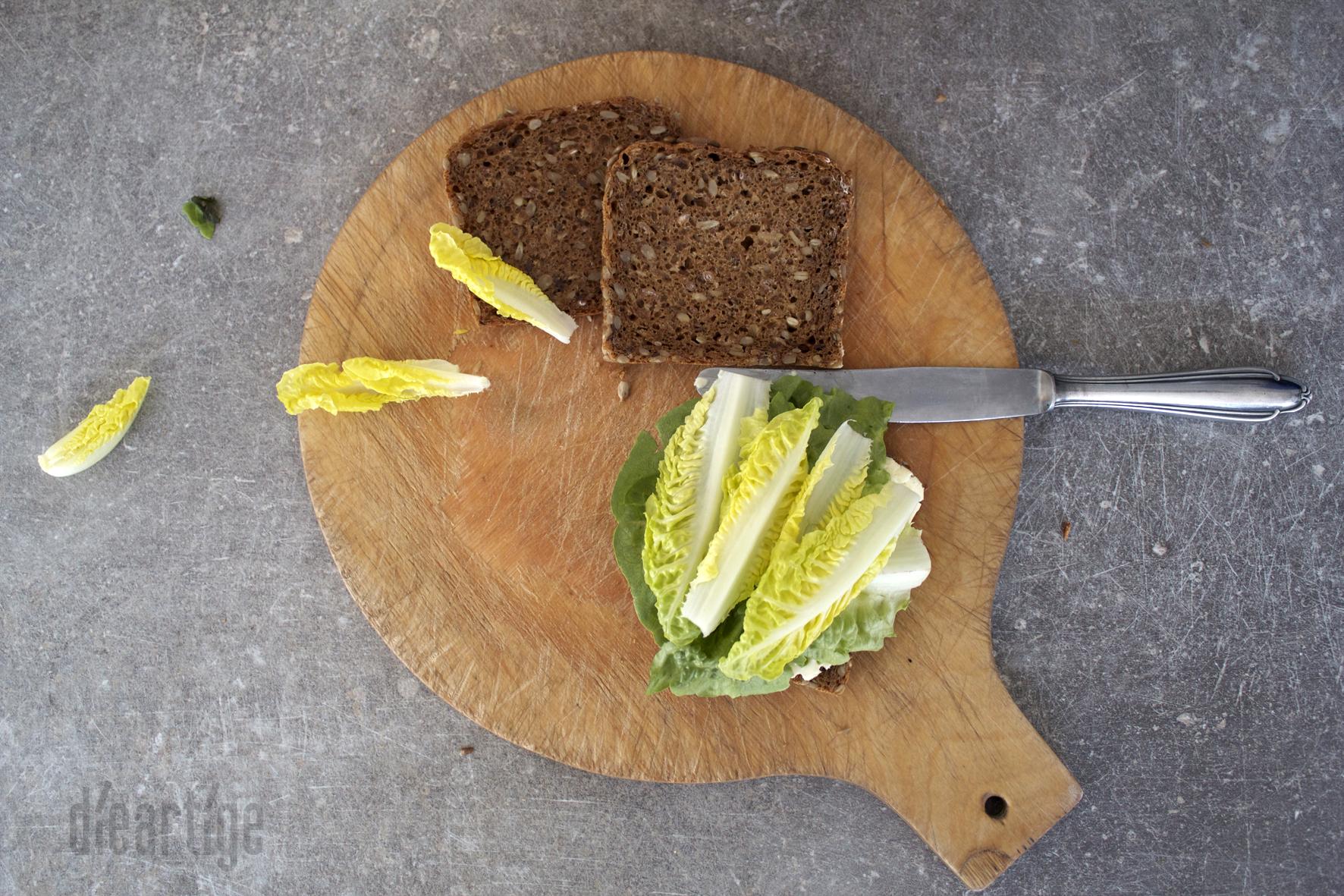 dieartigeBLOG - Sandwich mit La Ficelle + Birne | Vollkornbrot + franz. Weichkäse + Salat+ Birne