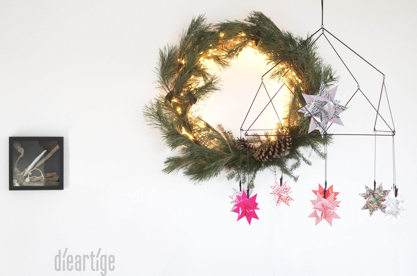 dieartigeBLOG - Kiefernkranz + Fröbelmobile, Advent, Dekoration, Fröbelsterne in Neonfarben