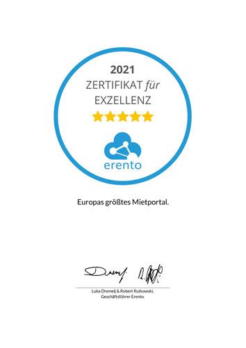 Zertifikat für Exzellenz 2021 Erento