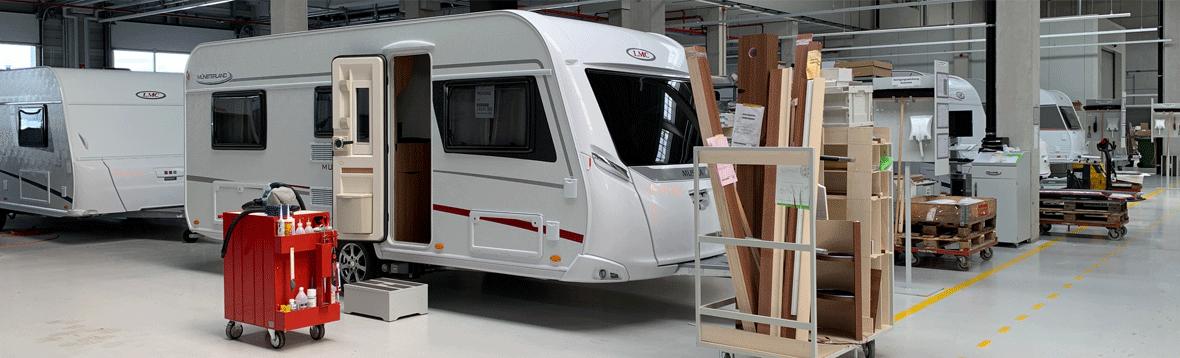 Foto LMC Wohnwagen in Werkstatt  - Ersatzteile für Mobilvetta Forster Chausson Malibu Carthago Miller McLouis Elnagh und viele mehr