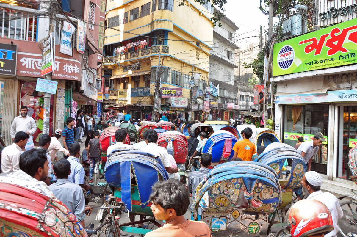 verkeerschaos in Dhaka