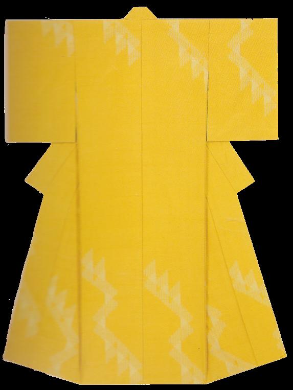 網代文紬織着物 「公孫樹」