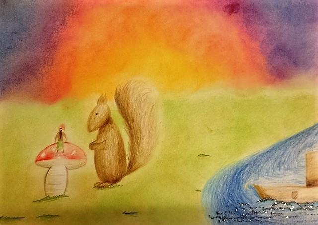 gemalt von einem Mädchen mit Pastell
