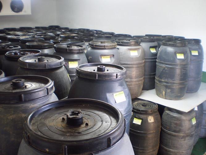 Los bidones cargados de aceitunas se almacenan en nuestras cámaras frigoríficas