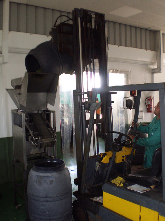 La máquina de machacado permite manipular grandes cantidades de aceituna en poco tiempo