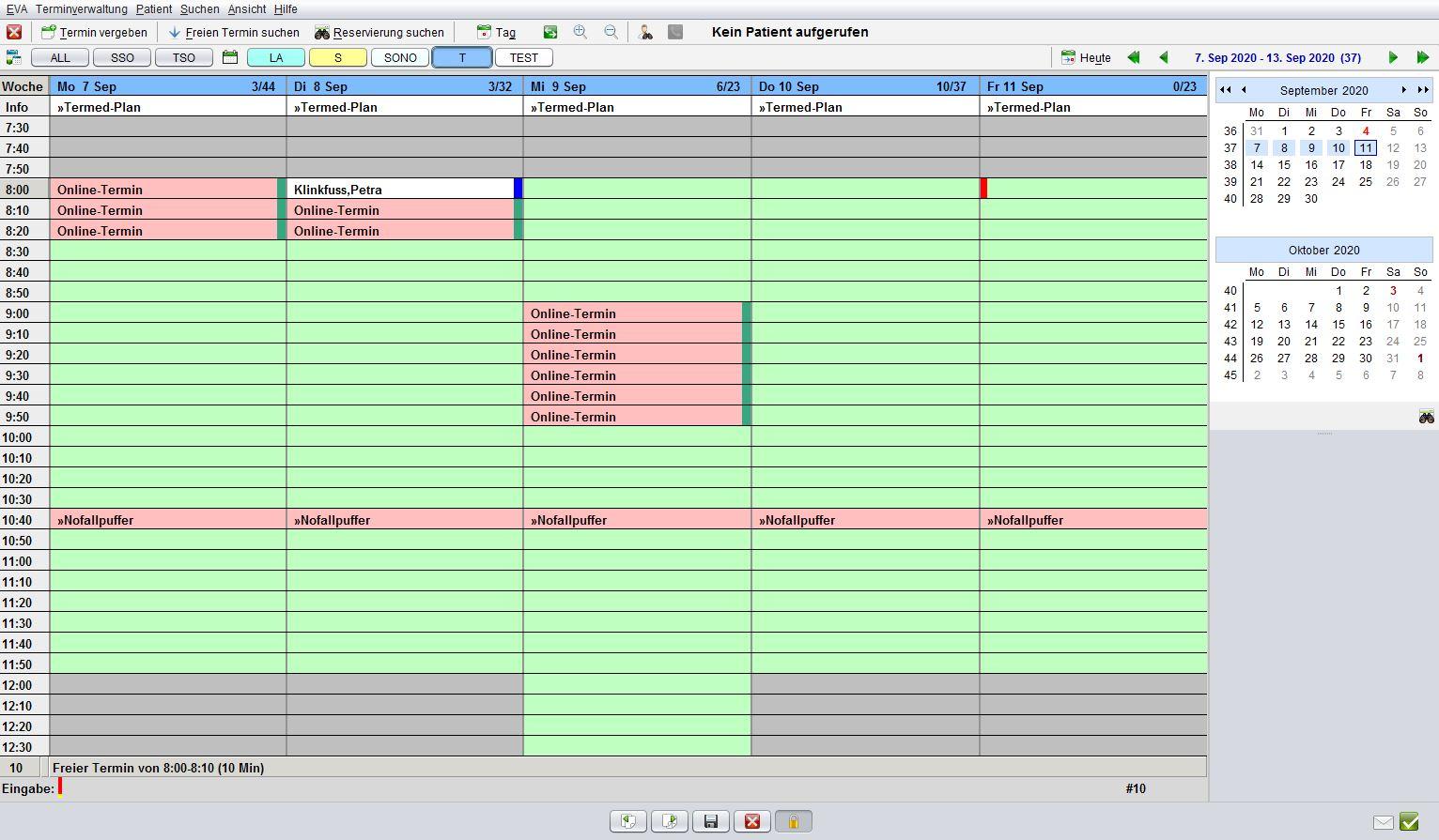 Schritt 5: Im Terminkalender von EVA wird der geblockte Online-Termin automatisch eingetragen
