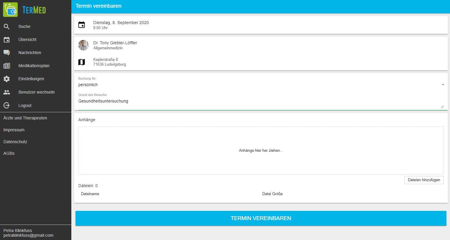 Schritt 2: Für die verbindliche Terminbuchung registriert sich der Patient bei TerMed