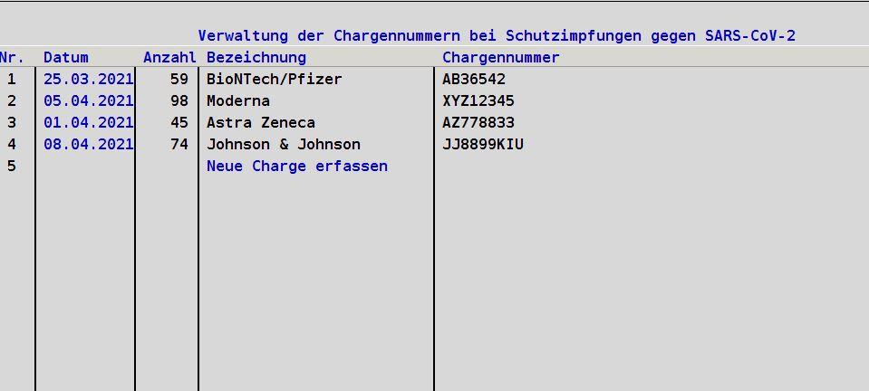 Ärzte Praxisverwaltung Praxissoftware IT Arzthelferin MFA COVID-19 Schutzimfpung Chargenummern In EVA Chargennummer erfassen