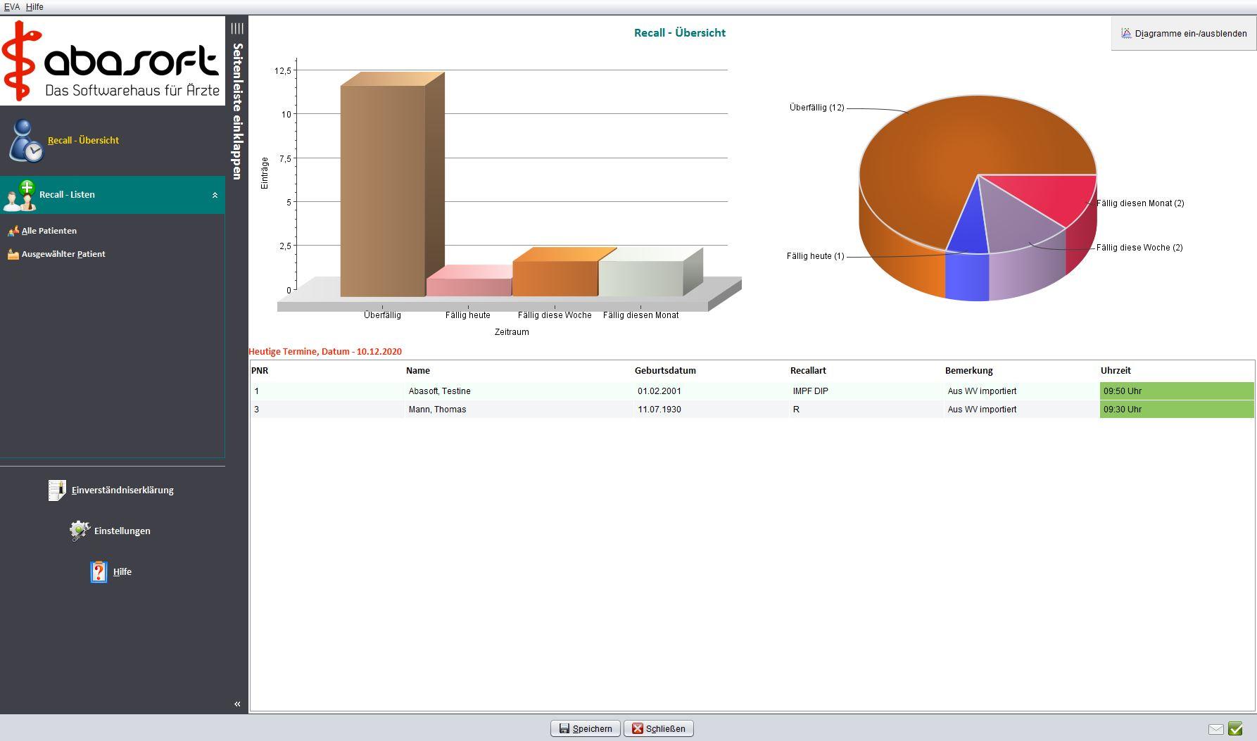 Die integrierte Statistik zeigt Ihnen ihre aktuellen Einträge sowie eine wöchentliche Statistik Ihres Recallmanagements an.