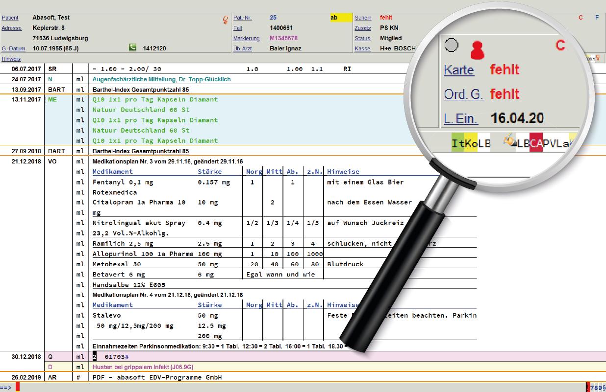 Auch direkt in der Patientenakte wird, durch bspw. das rote Icon/Grafik, ersichtlich in welchem Status sich der Patient im Recallsystem befindet.