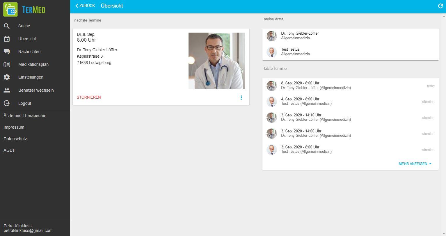 Schritt 4: Zusätzlich sieht der Patient auf der TerMed-Seite seine Terminübersicht