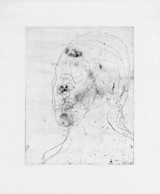 Martina Lückener Selbstbildnis 5 Radierung 45x37cm 2000