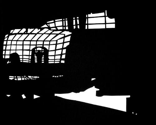 Martina Lückener  Raederwerk1  35x55 cm Papierschnitt 2004