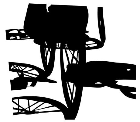 Martina Lückener  Radtour  57x66 cm Papierschnitt 2001