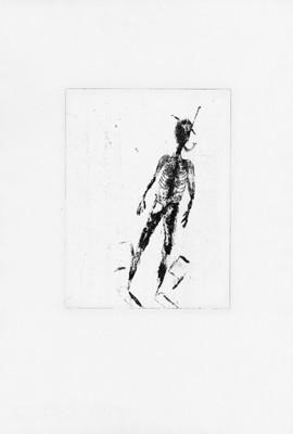 Martina Lückener Taucher Radierung 29x27cm 2000