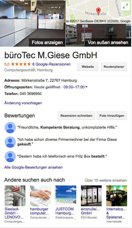 Google MyBusiness Box der Michael M. Giese GmbH