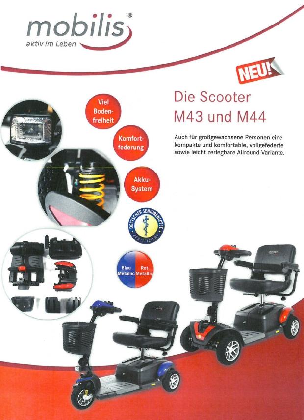 Merkmale und Sicherheitsausstattung des Mobilis M43 und M44 Elektromobils für Senioren und Behinderte