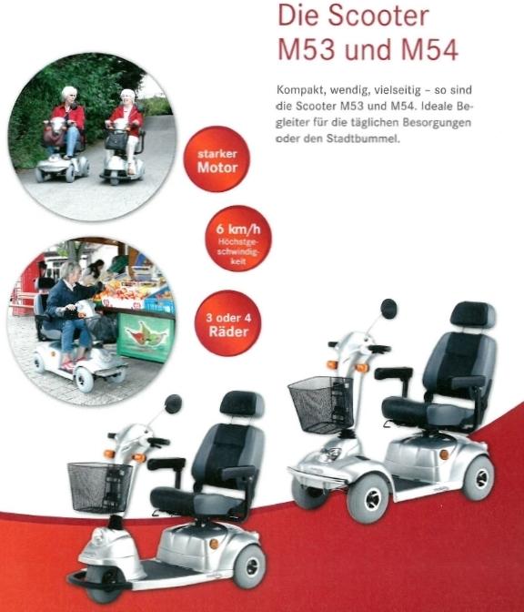Merkmale und Sicherheitsausstattung des Mobilis M53 und M54 Elektromobils für Senioren und Behinderte