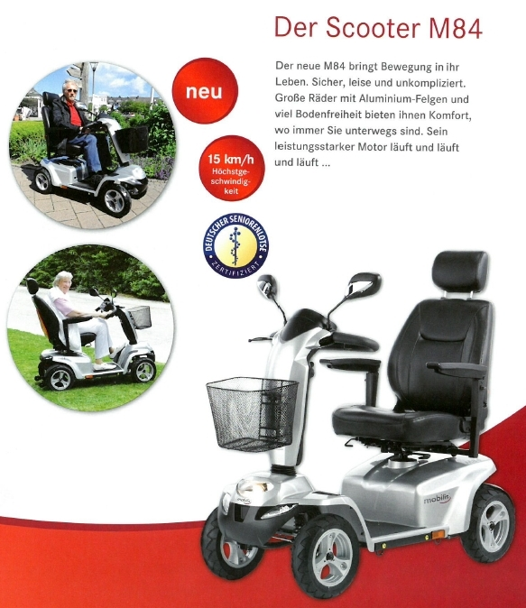 Merkmale und Sicherheitsausstattung des Mobilis M84 Elektromobils für Senioren und Behinderte