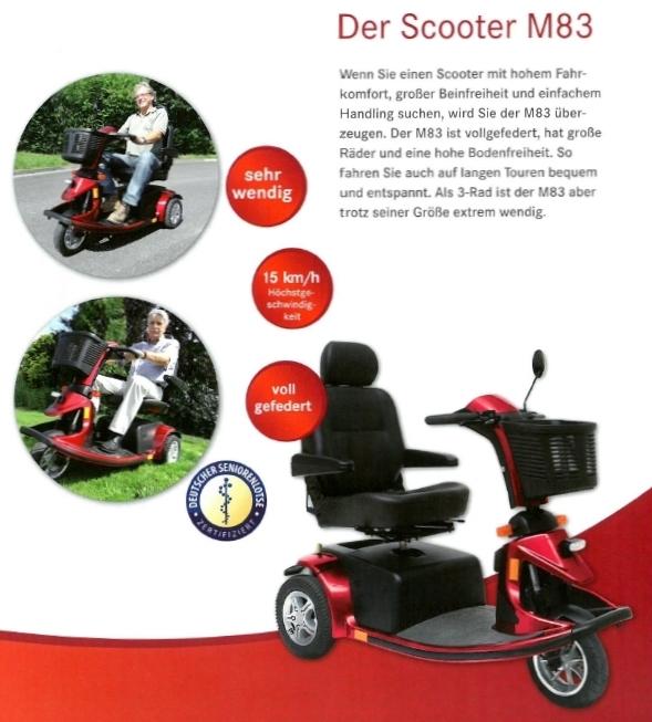 Merkmale und Sicherheitsausstattung des Mobilis M83 Elektromobils für Senioren und Behinderte