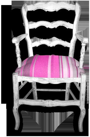 Fauteuil paillé d'origine et ici restauré avec une garniture Bultex et recouvert d'un tissu genre Toile Catalane rayé de multiples couleurs