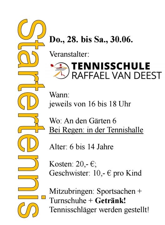 Tennisschule Raffael van Deest Ferienpassaktion