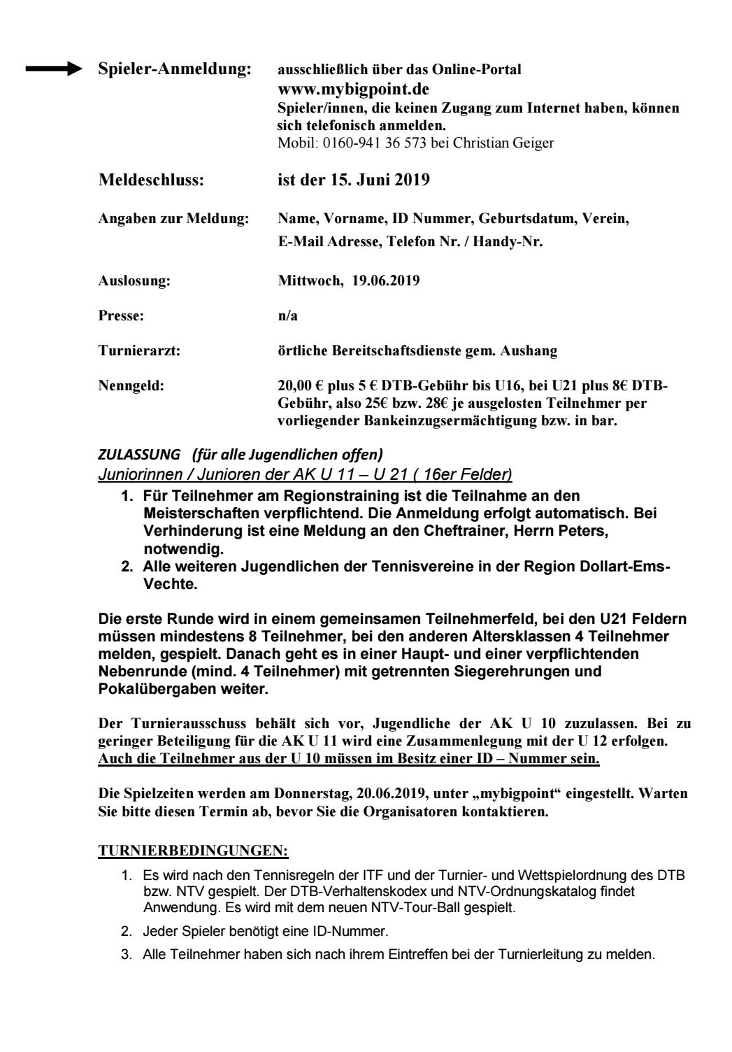 Jugend-Regionsmeisterschaften Sommer 2019 U11-U21 Region Dollart-Ems-Vechte