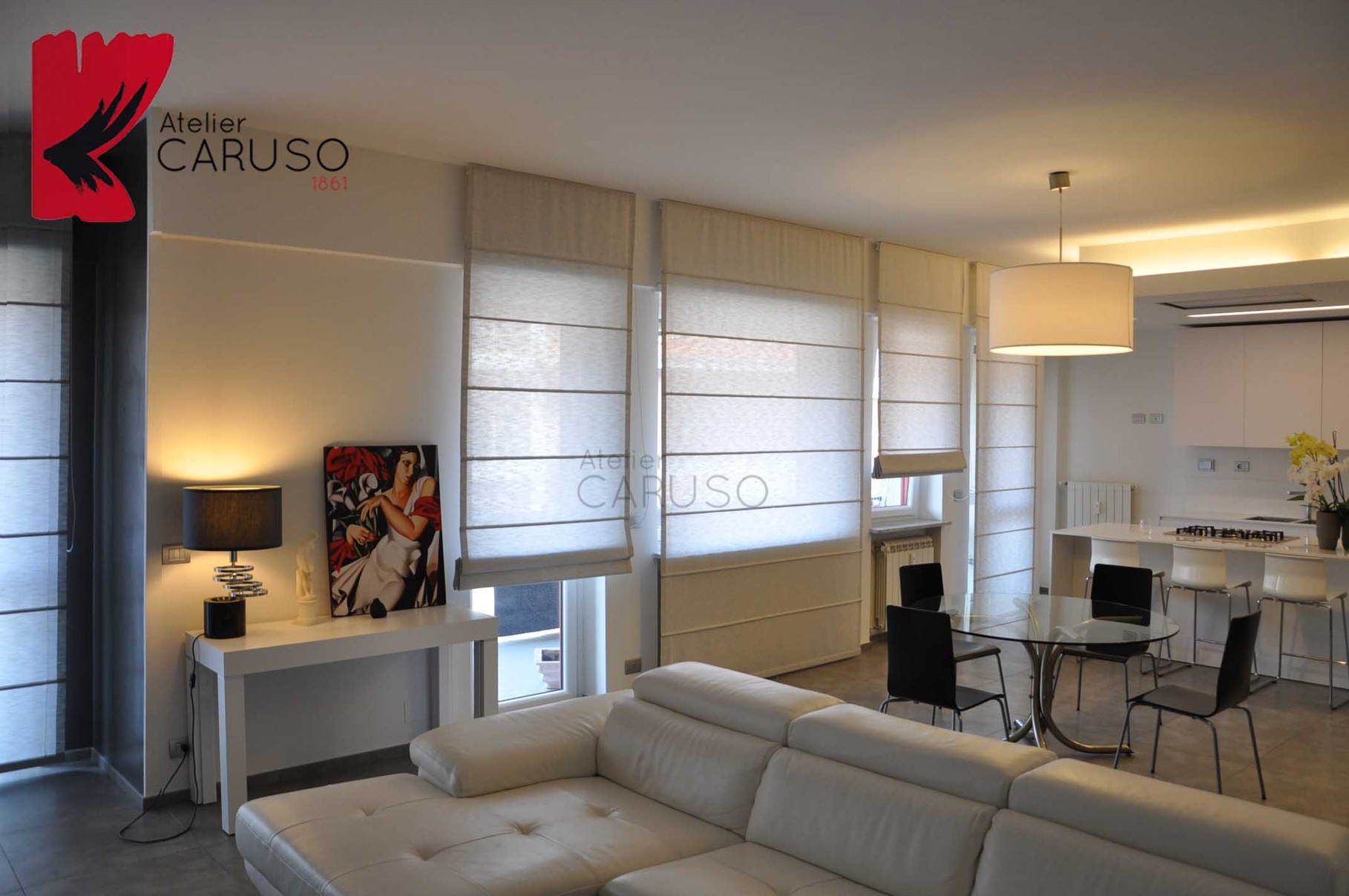 Tende a pacchetto atelier tessuti arredamento tende for Tessuti moderni per tende