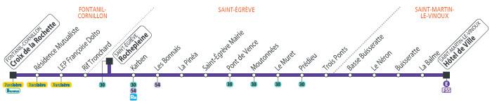A titre indicatif, plan de l'ancienne ligne E bus, remplacée par le tramway . L'arrêt Les Bonnais devant le cabinet n'est plus disponible.