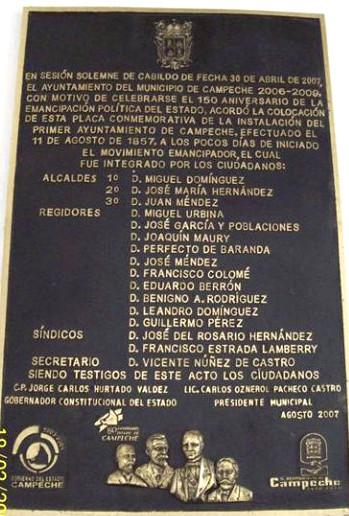 placa 450 aniversario de Cmpeche
