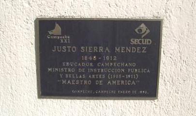 Placa vaciada en bronce del busto de Justo Sierra Mendez Secretaría de Educación Campeche