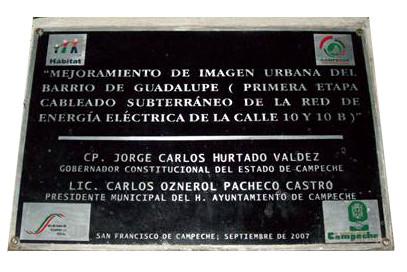 placa vaciada en aluminio mejoramiento urbano centro histórico de Campeche