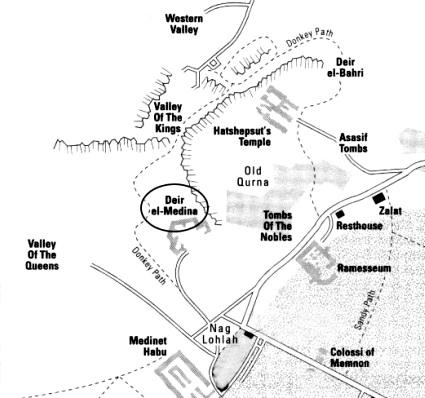 Carte simplifiée de Thèbes-Ouest - Egypte pharaonique