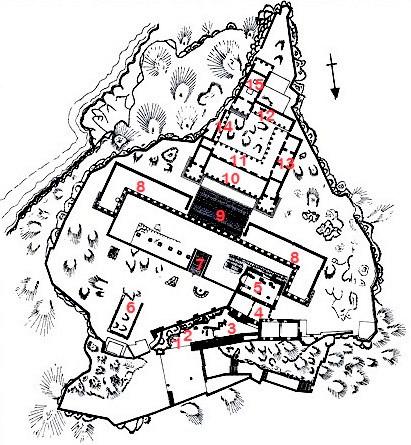 GR - Lindos (Rhodes) : Plan de l'Acropole