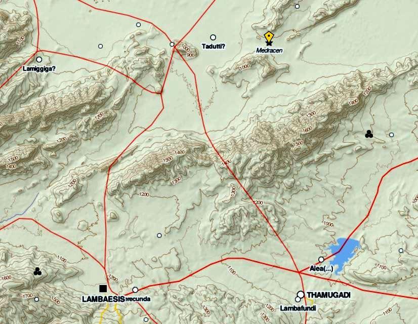 Medracen - Lambèse (Lambaesis) - Markouna (Verecunda) - Timgad (Thamugadi) : Les voies de communication romaines