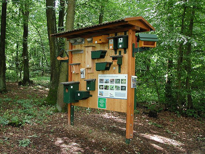 Die NABU Vogelschutzwand Informiert den Besucher über verschiedenste Nisthilfen.