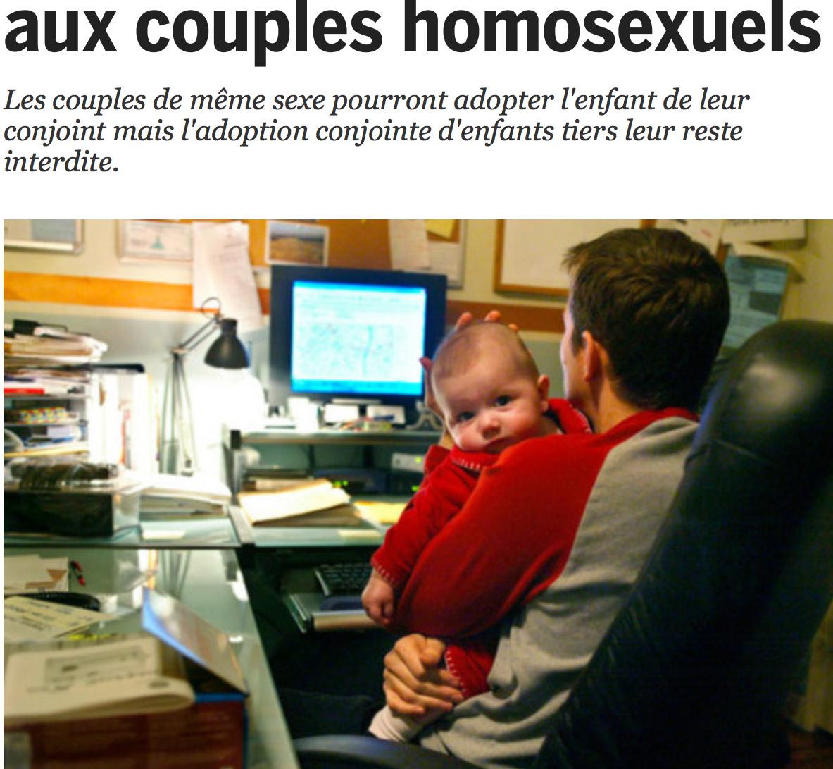 L'adoption s'entrouvre aux couples homosexuels