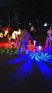彫竹灯篭にLEDを使って幻想的な世界を演出しました!