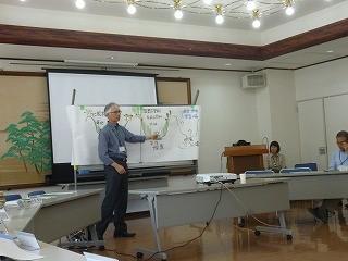 「里山の歴史と現状」について説明される高野教授