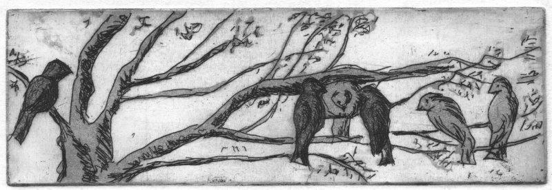 Albrecht, Roswitha : Vogeltreff, Radierung-Aquatinta, 2016, 5x16 cm  / 20 Euro