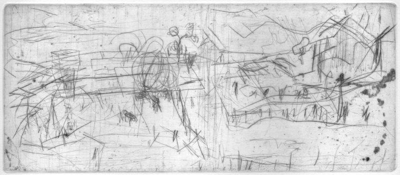 Blendinger, Günter, Am Dorfrand, Kaltnadelradierung, 2001, 5-30, 10,7 x 25,3 cm / 80 Euro