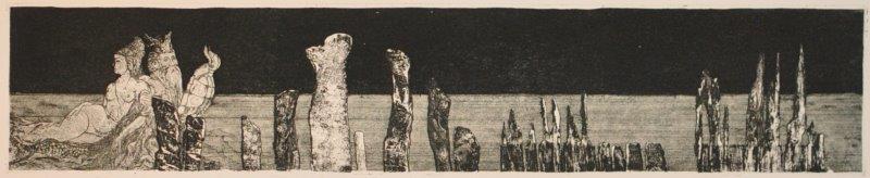 Müller, Helmut, Der Traum vom Meer - Merwunder, gestrandet, Radierung-Vernis mou-Aquatinta, 2010, 8-10, 8,5x42,5 cm / 100 Euro