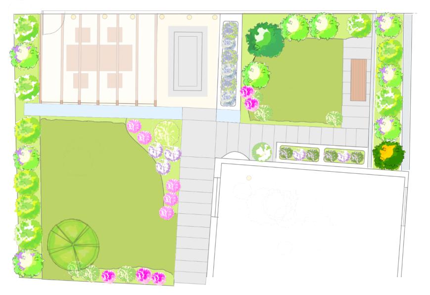 Gartenentwurf mit Terrasse und Hochbeeten