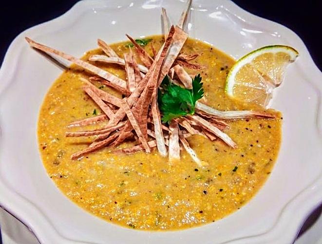 Soupe de maïs grillé à la Mexicaine