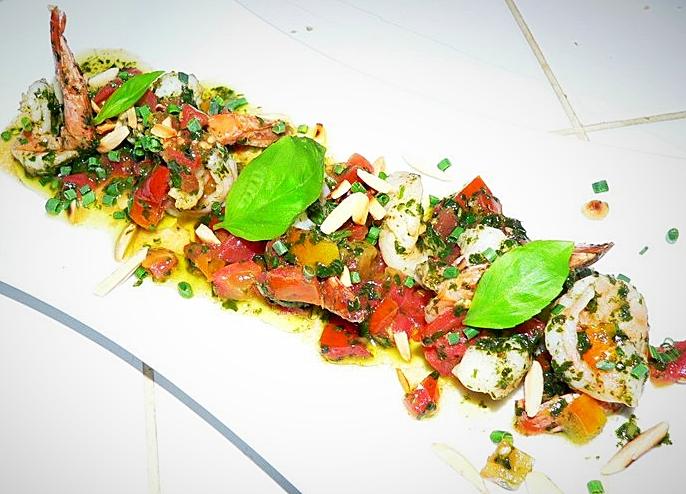 Crevette sauce vierge & amandes