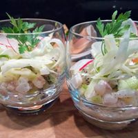 Tartare de daurade pomme-kiwi vinaigrette au curry, Chef à domicile, chef à la maison, chef à domicile Grasse, Cours de cuisine à domicile, cours de cuisine Grasse, Chef Tristan Pontoizeau