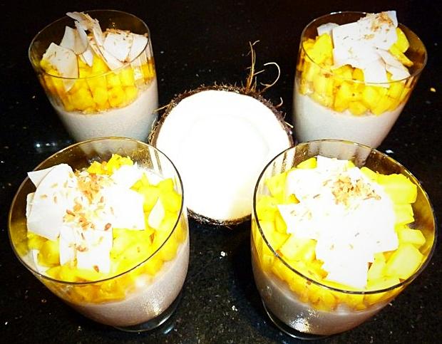 Blanc-manger coco, mangue marinée au citron vert