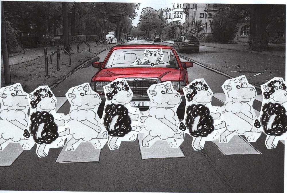 """1.6.1964 Nach einer Änderung der StVO haben in der BRD fortan Fußgänger an einem Zebrastreifen """"Vorfahrt"""" gegenüber motorisierten Verkehrsteilnehmern."""