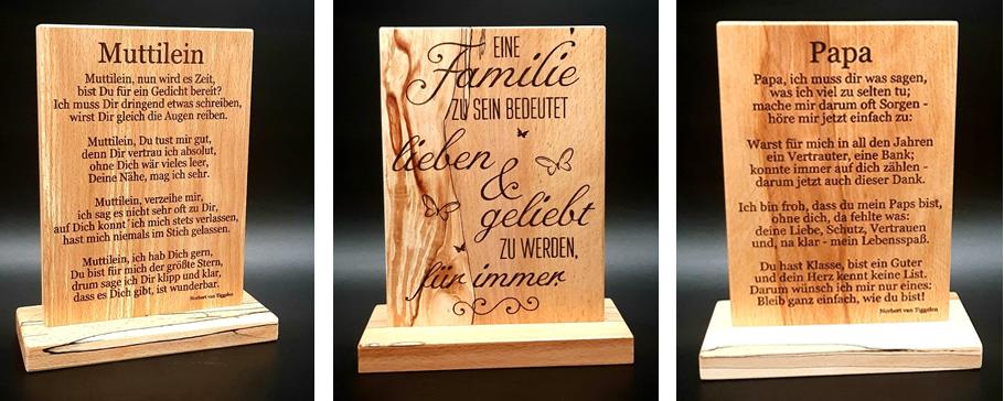 Sprüche per Gravur auf Holz, Familie, Mama, Papa
