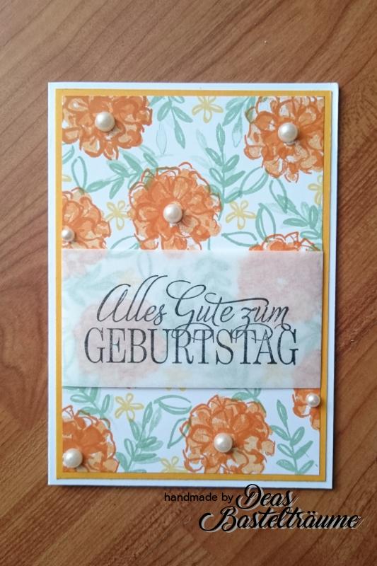 Blumige Geburtstagsgrüße mal Anders. Material u.a. © by Stampin Up!